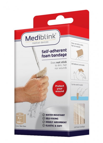 MEDIBLINK Self-Adherent Water Resistant Bandage AquaSoft, Skin Tone M141